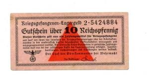 D/ Germania. WWII, 10 Reichspfennig - Prigionieri di Guerra, lager. Splendida. Non Comune.