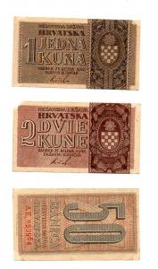D/ CROAZIA. Lotto 03 banconote del 1942. Tutte con ottima conservazione! Peccato solo per la 2 kune con ammanco carta ad un angolo. Vedi foto per dettagli.