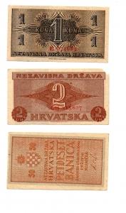 R/ CROAZIA. Lotto 03 banconote del 1942. Tutte con ottima conservazione! Peccato solo per la 2 kune con ammanco carta ad un angolo. Vedi foto per dettagli.