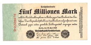 D/ GERMANIA. Funf Millionen Mark / 5.000.000. 1923. Perfetta.