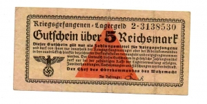 D/ Germania. WWII, 5 Reichsmark - Prigionieri di Guerra, lager. Discreta.
