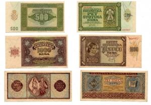 D/ JUGOSLAVIA: Lotto completo di 07 banconote. 5.000 Kuna (1943), 1.000 Kuna (1941), 1.000 Kuna (1943), 500 Kuna (1941), 100 Kuna (1941), 50 Kuna (1941), 10 Kuna (1941). Da discrete a FDS. Vedi foto per dettagli.