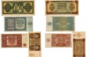 R/ JUGOSLAVIA: Lotto completo di 07 banconote. 5.000 Kuna (1943), 1.000 Kuna (1941), 1.000 Kuna (1943), 500 Kuna (1941), 100 Kuna (1941), 50 Kuna (1941), 10 Kuna (1941). Da discrete a FDS. Vedi foto per dettagli.