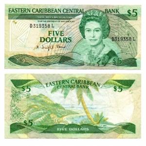 D/ CARAIBI DELL'EST. 5 Dollari. 1985. SUP.
