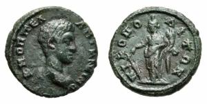 obverse: DIADUMENIANO (218). Moesia Inferiore, Nikopolis. AE 16 (2,46 gr.). R.\: Tyche stante a sinistra con cornucopia, mentre tiene un timone. qBB. R1.