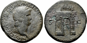 obverse: NERONE (54-68). Thracian mint. AE Sestertius (25,16 gr. – 34 mm.). D.\: NERO CLAVDIVS CAESAR AVG GER P M TR P IMP P P. - Laureate head right. R.\: S. C. - Triumphal arch surmounted by quadriga and with statue between columns. RPC 1758. MB. NC