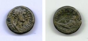 obverse: Senato Romano. (circa I-II sec. d.C.). AE 17 (4,40 gr.). D.\: testa Senato a destra. R.\: dio fluviale steso verso sinistra. MB. Rara!