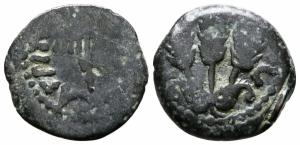 obverse: Judaea. Jerusalem. Agrippa I AD 37-43. Prutah AE (16 mm., 2.33 g.) MB. NC