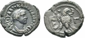 obverse: DIOCLEZIANO (284-305). Alessandria, Egitto. AE Tetradramma (8,26 gr. - 20,5 mm.). Milne 4864. MB.