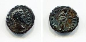 obverse: Septimius Severus (193-211), Moesia Inferiore, Nicopolis ad Istrum. AE (3,02 gr. – 16 mm.). D.\: AV K CEVHPOC. Laureate head right. R.\: NIKOΠOΛI ΠPOC ICTP. Hygieia standing right, feeding serpent. Varbanov 2322. BB. R.