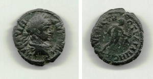 obverse: CARACALLA. Tracia, Augusta Traiana. AE 19 (4,36 gr.). D.\: busto di Cartacalla verso destra. R.\: Hermes andante verso destra con caduceo. qBB. NC