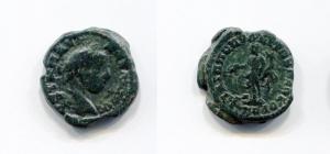 obverse: Eliogabalo (218-222). Moesia. Markianopolis. AE (19 mm. - 4,14 gr.). D.\: profilo Elagabalo. R.\: Homonoia con cornucopia e patera. BB. NC.