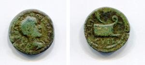 obverse: Gordianus III (238-244). Thrace, Coela. AE (3,58 gr. 19 mm.). D.\: Bare head of Gordianus right. R.\: Prow right, above cornucopia. Varbanov -. qBB. R.
