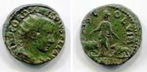 obverse: GORDIANO III (238-244), Moesia Inferiore, Viminacium. AE Bronzo (6,72 gr. – 22 mm.). D.\: IMP GORDIANUS PIVS DEL AVG, profilo incoronato a destra. R.\: P M S COL VIM AN IIII, Moesia con ai fianchi un leone e un toro. BB+. NC.