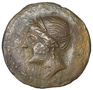 obverse: Bruttium, The Bretti. 214-211 BC. Æ Unit. 3.90 gr. – 17.4 mm. O:\ Winged and diademed bust of Nike left; thunderbolt below. R:\ Zeus, holding thunderbolt and sceptre, driving biga left; grape bunch below. Scheu, Bronze 46; HN Italy 1989. VF\XF