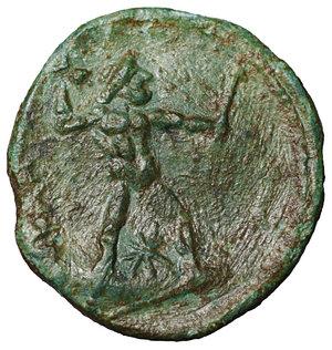 reverse: Bruttium. The Brettii. 214-211 BC. Half Unit. AE 3.10 gr. – 17.7 mm. O:\ Head of Nike left, wearing diadem, at left NIKA, behind, barley-ear. R:\ BPETTIΩN, Zeus standing right, holding thunderbolt and sceptre, below star. HN Italy 1982; SNG Copenhagen 1681; SNG ANS 60. VF\XF