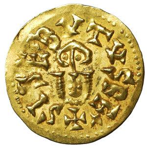 D/ Visigoths. Sisebut. 612-621 AD. Gold Tremissis. AV 1.49 gr. – 18.5 mm. Emérita (Mérida). O:\ +SISBVTVSREx; bust. R:\ +EMERITAPIVS*; Bust. (Cnv-258.1). Uncirculated