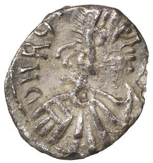 D/ GERMAN TRIBES THE VANDALS. Thrasamund, 496-523. Half siliqua, Carthage 496-523. 0,72 gr. - 12,7 mm. O:\ DN RG THRA – SAMVNDVS Pearl-diademed, draped and cuirassed bust r. R:\ DN within wreath. BMC Vandals 12. MIB 6a. MEC I, 17. Old cabinet tone. VF+. R2