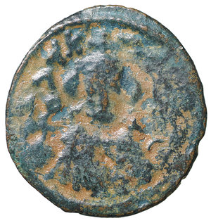 D/ Islamic. Arab-Byzantine, Umayyad Caliphate. Æ Fals. Hims (Emesa), circa AD 685-690. 3.70 gr. – 20.8 mm. O:\ Crowned imperial bust facing, holding globus cruciger; KAΛON downwards to left, wavy line to right of crown, bi-hims in Arabic and star to right. R:\ Large cursive M above exergual line; star flanked by two annulets above, EMI downwards to left, CIC downwards to right, tayyib in Arabic in exergue. SICA I 539-42; Goodwin 14 var. Rare. aXF