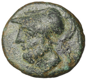 obverse: Lucania. Metapontion. 300-250 BC. Bronze. AE4.25 gr. – 16.4 mm. O:\ Head of Leukippos l., wearing crested Corinthian helmet. R:\ META, Demeter standing facing, head r., l. hand on hip, holding long cross-torch in r. HNItaly 1702; SNG Copenhagen 1249; SNG ANS 561var. VF\XF