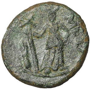 reverse: Lucania. Metapontion. 300-250 BC. Bronze. AE4.25 gr. – 16.4 mm. O:\ Head of Leukippos l., wearing crested Corinthian helmet. R:\ META, Demeter standing facing, head r., l. hand on hip, holding long cross-torch in r. HNItaly 1702; SNG Copenhagen 1249; SNG ANS 561var. VF\XF