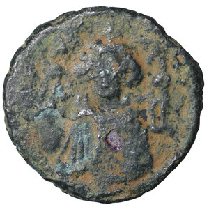 D/ Islamic. Arab-Byzantine, Umayyad Caliphate. Æ Fals. Hims (Emesa), circa AD 685-690. 3.85 gr. – 19,7 mm. O:\ Crowned imperial bust facing, holding globus cruciger; KAΛON downwards to left, wavy line to right of crown, bi-hims in Arabic and star to right. R:\ Large cursive M above exergual line; star flanked by two annulets above, EMI downwards to left, CIC downwards to right, tayyib in Arabic in exergue. SICA I 539-42; Goodwin 14 var. Rare. aXF