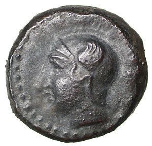 obverse: Sicily. Kamarina. 420-405 BC. AE tetras. 13 mm - 3,41 gr. O:\ Head of Athena wearing crested Attic helmet left. R:\ KAMA, owl standing left, head facing, lizard and N to right, three pellets in exergue. SNG ANS 1227. aXF