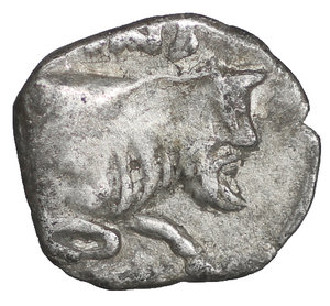 reverse: Sicily, Panormos as Ziz. AR Litra. Circa 410-405 BC. 8 mm - 0,40 gr. O:\ Horned head of river god left. R:\ Forepart of man-headed bull right, Punic letters above. SNG ANS 549-550; Jenkins, Punic, p. 75, 13; HGC 2, 1046. Rare. VF\XF