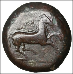 reverse: Sicily. Aitna 354-344 BC. Bronze Æ 22mm - 16,59 gr. O:\ AITNAΙΩΝ, head of Athena to right, wearing Corinthian helmet / Horse with trailing rein prancing right, above, M. SNG ANS 1301. Rare. aXF