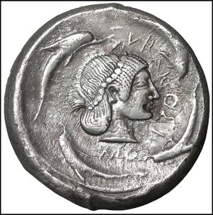 obverse: Sicily, Syracuse AR Tetradrachm. Deinomenid Tyranny. Time of Hieron I, circa 480/78-475 BC. 17.21 gr. – 24 mm, 2h.  O:\ Charioteer, holding kentron and reins, driving walking quadriga right; above, Nike flying to right, crowning horses. R:\ Head of Arethusa right, wearing earring, necklace and headband, her hair tied in a krobylos; ΣVRΑKΟΣΙΟΝ and four dolphins around. Boehringer 149 (V66/R103); SNG ANS 42; Randazzo 316 (same dies). Attractive light tone. XF