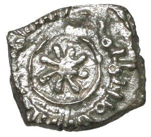 R/ Regno di Sicilia. Guglielmo I (1154-1166). Frazione di Dirhem (Kharruba). Palermo. 7 mm -  0,48 gr. O:\ Iscrizione araba in tre righe