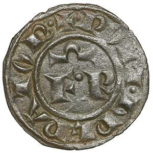 D/ Regno di Sicilia. BRINDISI. Federico II (1197-1250). Denaro (1248). 0.7 gr. – 16.6 mm. D:\ FR e omega nel campo. R:\ Croce patente con due stelle MIR 294. Rara. SPL+