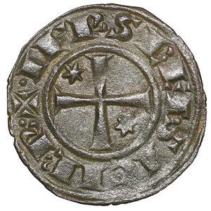 R/ Regno di Sicilia. BRINDISI. Federico II (1197-1250). Denaro (1248). 0.7 gr. – 16.6 mm. D:\ FR e omega nel campo. R:\ Croce patente con due stelle MIR 294. Rara. SPL+