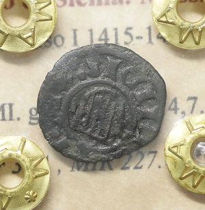D/ Regno di Sicilia. Messina. Alfonso I 1415-1458. Denaro MI. gr 0,58. mm 14,7. Spahr 37A , MIR 227. BB\SPL