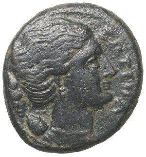 obverse: Sicily, Syracuse. Agathokles. 317-289 BC. AE Litra. Period 4, circa 295 BC. 8.85 gr. – 24.3 mm. O:\ ΣΩTEIΡA, head of Artemis right, in triple-pendant earring & necklace, quiver over shoulder. R:\ Winged thunderbolt, AΓAΘOKΛEOΣ above, BAΣIΛEOΣ below. SNGCop 779; SNG ANS 708. aXF