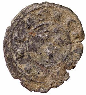 D/ Regno di Sicilia. Corrado I (1250 - 1254). Denaro. 0.50 gr. - 16.5 mm. D:\ Croce patente. R:\ Nel campo RXE. Spahr 156. BB+