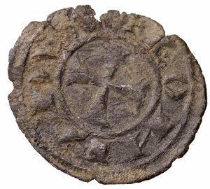 R/ Regno di Sicilia. Corrado I (1250 - 1254). Denaro. 0.50 gr. - 16.5 mm. D:\ Croce patente. R:\ Nel campo RXE. Spahr 156. BB+
