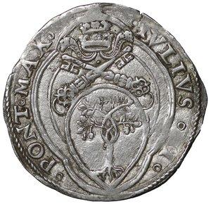 D/ Stato Pontificio. ROMA. Giulio II (1503-1513). Giulio. 3.80 gr. – 29.4 mm. D:\ Stemma a targa semiovale. R:\ Figure affrontate di San Pietro e San Paolo CNI 129; Munt. 30. Raro. SPL