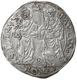 R/ Stato Pontificio. ROMA. Giulio II (1503-1513). Giulio. 3.80 gr. – 29.4 mm. D:\ Stemma a targa semiovale. R:\ Figure affrontate di San Pietro e San Paolo CNI 129; Munt. 30. Raro. SPL