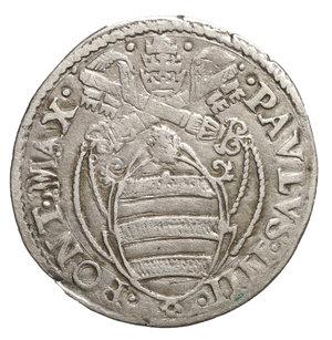 D/ Paolo IV (1555-1559). Giulio. 3.1 gr. – 27,0 mm. D:\ Stemma ovale in cornice. R:\ San Paolo stante di fronte con spada e libro. CNI 109; Munt. 18. Rara. BB+. PERIZIATA