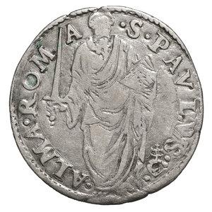R/ Paolo IV (1555-1559). Giulio. 3.1 gr. – 27,0 mm. D:\ Stemma ovale in cornice. R:\ San Paolo stante di fronte con spada e libro. CNI 109; Munt. 18. Rara. BB+. PERIZIATA