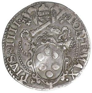 D/ Stato Pontificio. ROMA. Pio IV (1559-1566). Giulio. 2.90 gr. - 26.9 mm. O:\ Stemma sormontato da tiara e chiavi decussate. R:\ San Pietro stante di fronte CNI 99; Munt. 17. Raro. SPL