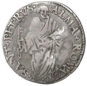 R/ Stato Pontificio. ROMA. Pio IV (1559-1566). Giulio. 2.90 gr. - 26.9 mm. O:\ Stemma sormontato da tiara e chiavi decussate. R:\ San Pietro stante di fronte CNI 99; Munt. 17. Raro. SPL