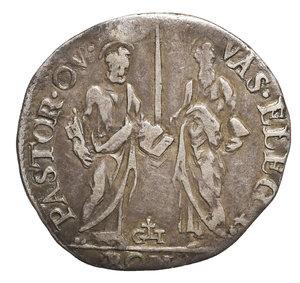 R/ Gregorio XIII (1572-1585). Giulio. 3.0 gr. – 27,00 mm. D:\ Stemma ovale in cornice. R:\ Figure di San Pietro e San Paolo. Munt. 107. BB. PERIZIATA