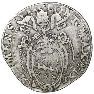 D/ Stato Pontificio. ROMA. Clemente VIII (1592-1605). Testone A. IX. 9.36 gr. – 29.3 mm. D:\ Stemma ovale in cornice. R:\ Porta Santa chiusa CNI 113; Munt. 12. Rara. qSPL