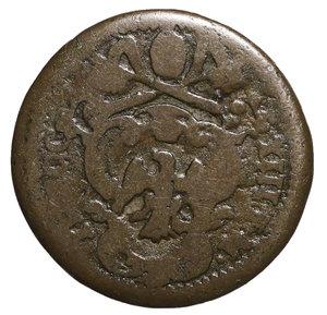 D/ Innocenzo XIII (1721-1724). GUBBIO. Quattrino. 2,8 gr. – 20,6 mm. D:\ Stemma. R:\ Figura del Santo volta a sx. Munt. 58. RARA. BB. PERIZIATO
