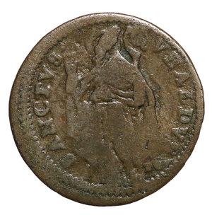 R/ Innocenzo XIII (1721-1724). GUBBIO. Quattrino. 2,8 gr. – 20,6 mm. D:\ Stemma. R:\ Figura del Santo volta a sx. Munt. 58. RARA. BB. PERIZIATO
