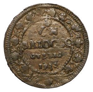 R/ Benedetto XIII. (1724-1730). GUBBIO. Baiocco 1730 A. V. 14,7 gr. – 36,9 mm. Munt. 47 l. R2. BB/SPL. PERIZIATA