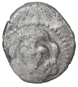 obverse: Sicily. Leontinoi. AR Litra 8mm - 0,71 gr. 460-450 BC. O:\ Facing lion s head. R:\ ΛE-ΟΝ, Grain of barley. SNG ANS 213; SNG Munich 546. VF+