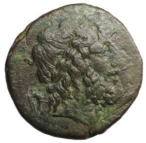 obverse: Sicily, Kentoripai. Ca. 214-210 B.C. Æ Tetrachalkon or Dekonkion. 9.67 gr. - 25.9 mm. O:\ Laureate head of Zeus right. R:\ KENTO/PIΠINΩN in two lines, above and below, winged thunderbolt. BAR Issue 1; CNS 4; SNG ANS 1307-10. Attractive dark brown patina. VF/XF
